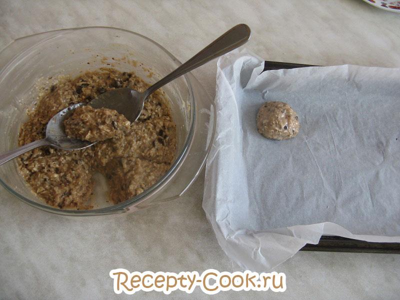 шоколадное овсяное печенье с бананом пошаговый рецепт с фото