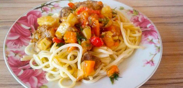 Лагман со спагетти