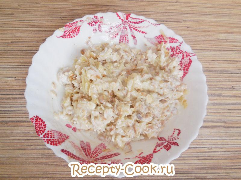 Тесто для овсяного печенья с яблоками