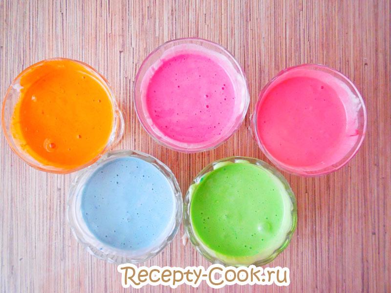 как сделать цветной бисквит