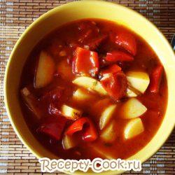 Картофельный суп со сладким перцем
