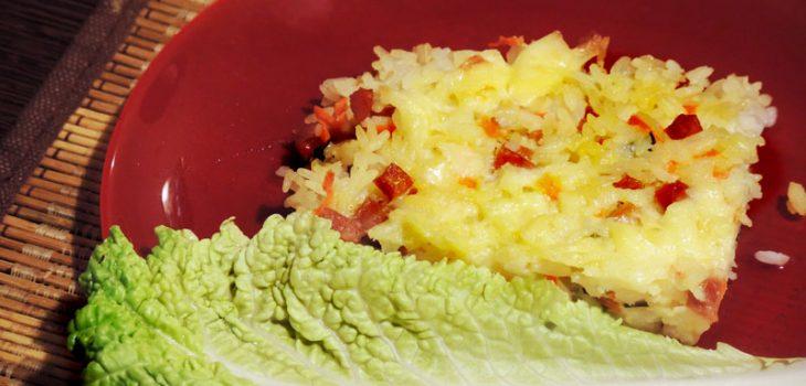 Рисовая запеканка с ветчиной и сыром