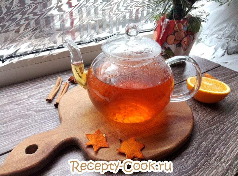 черный чай с апельсином и корицей