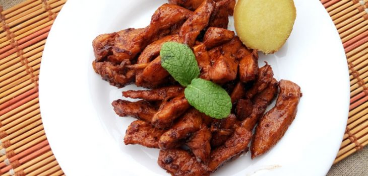 Курица по-китайски с имбирем и лимоном